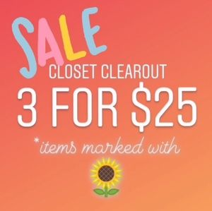 Items marked with 🌻 3 for $25